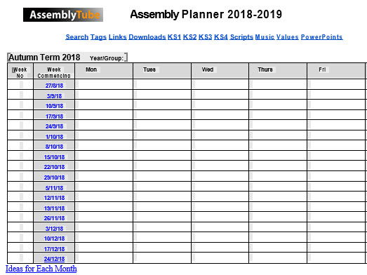 Assembly Year Planner 2018-2019