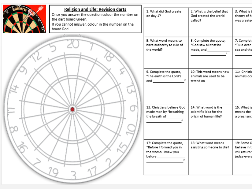 AQA Religion and Life Revision darts worksheet