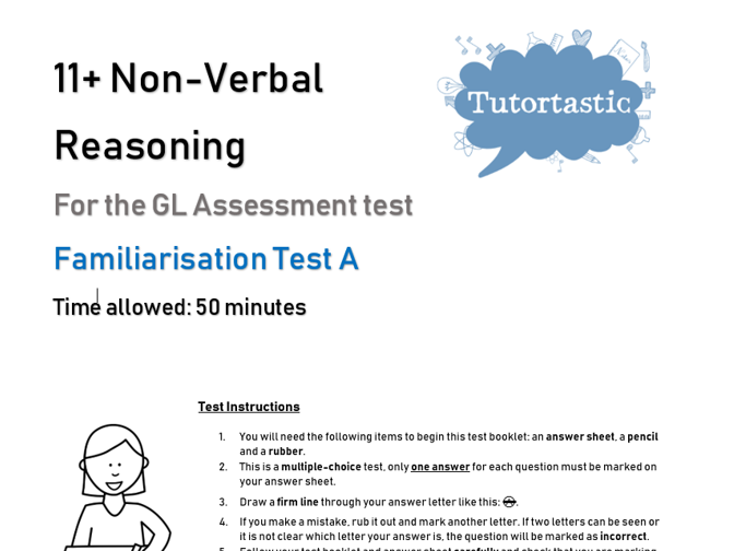 11+ Non-Verbal Reasoning Familiarisation Test A - GL Style