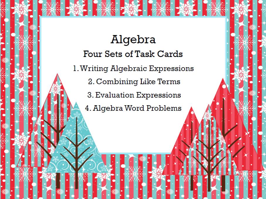 Algebra-Middle School Review of Four Skills-80 Task Cards-Winter Wonderland