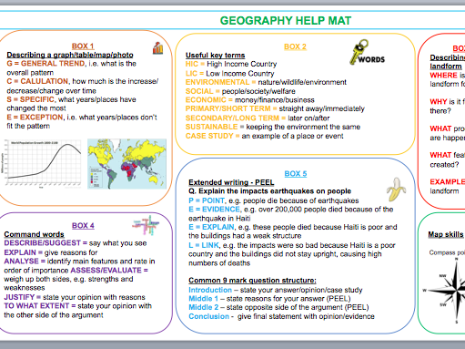 Geography help mat - key words and skills prompts for SEN/EAL/EFL