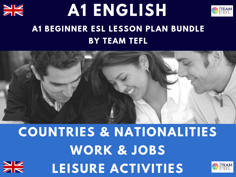 Countries & Nationalities / Leisure Activities / Work & Jobs A1 Beginner ESL Lesson Plan Bundle