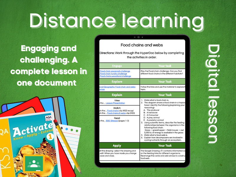 9.1.1 Food chains and webs: Distance learning (AQA KS3 Activate 1)