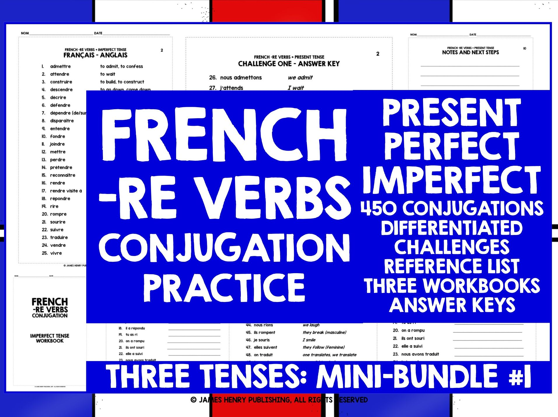 FRENCH -RE VERBS CONJUGATION MINI-BUNDLE #1