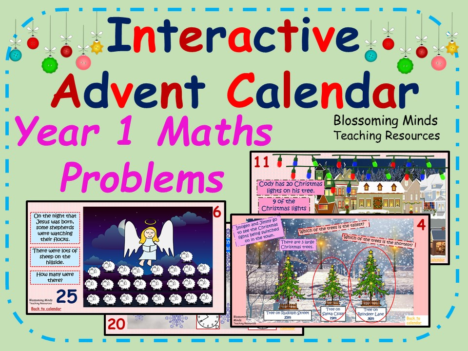 Year 1 Interactive Advent Calendar - Christmas Maths Problems