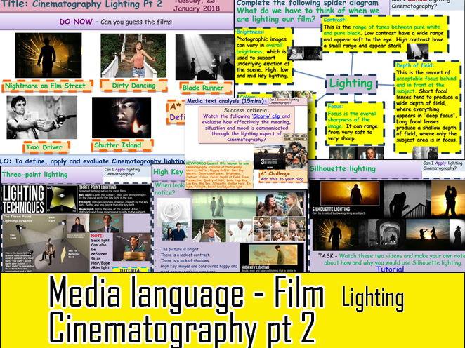 Media Language Cinematography Part 2:  Lighting