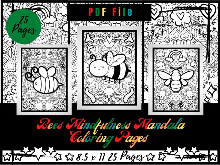 Adorable Bees Mindfulness Mandala Colouring Pages For Kids, Printable Sheets PDF