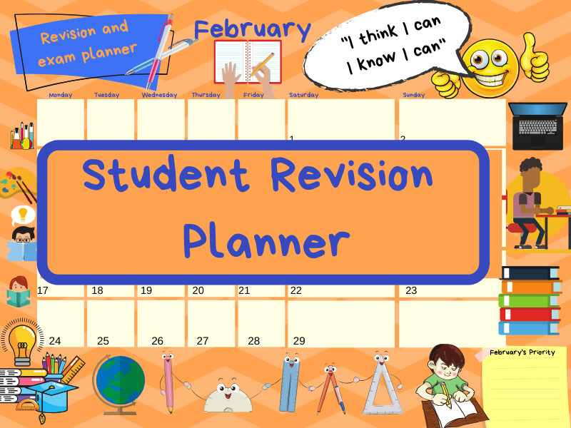 Exam study revision timetable/calendar (ideal for GCSE/A'Level)