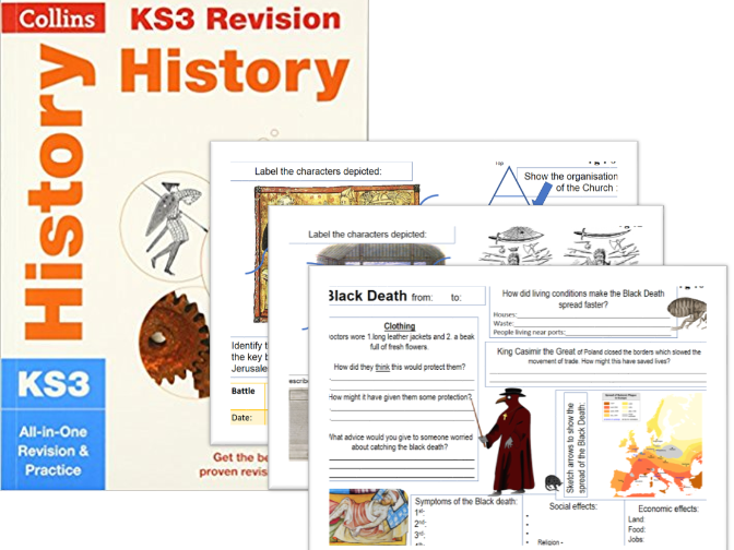 Worksheets supporting Collins KS3 History  Christendom, Magna Carta, Black Death, Norman Conquest