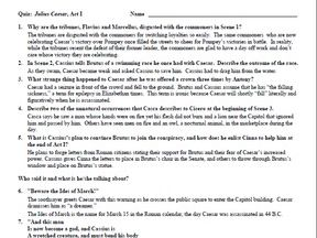 Julius Caesar Quiz Set & Answer Keys