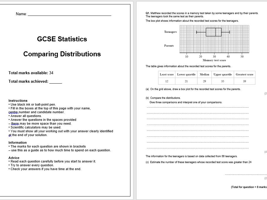 Comparing Distributions Exam Questions (GCSE Statistics)