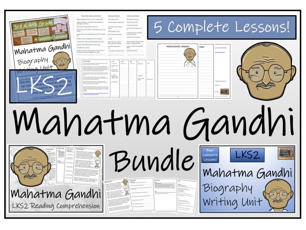 LKS2 History - Mahatma Gandhi Reading Comprehension & Biography Bundle