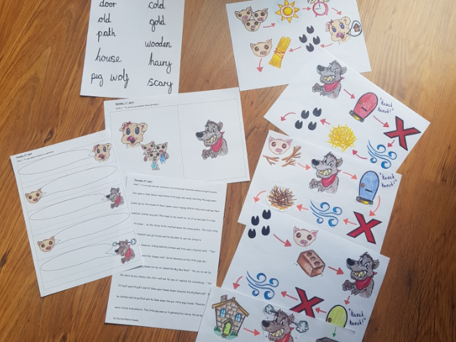 three little pigs story map and 3 lesson worksheets