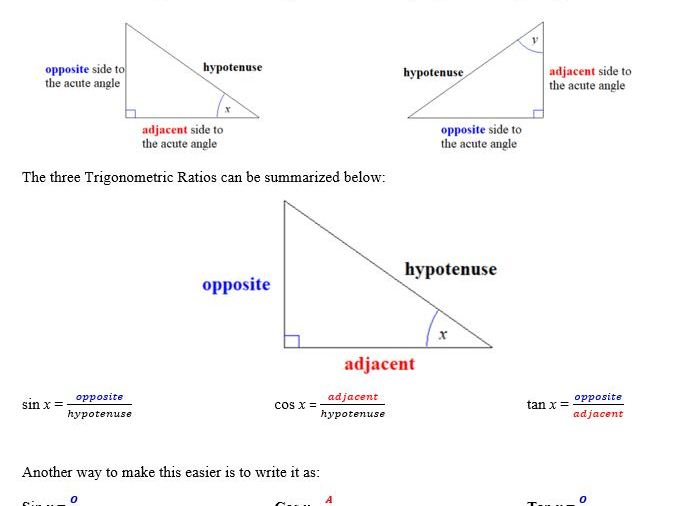 Trigonometric Ratios Student Reference Guide