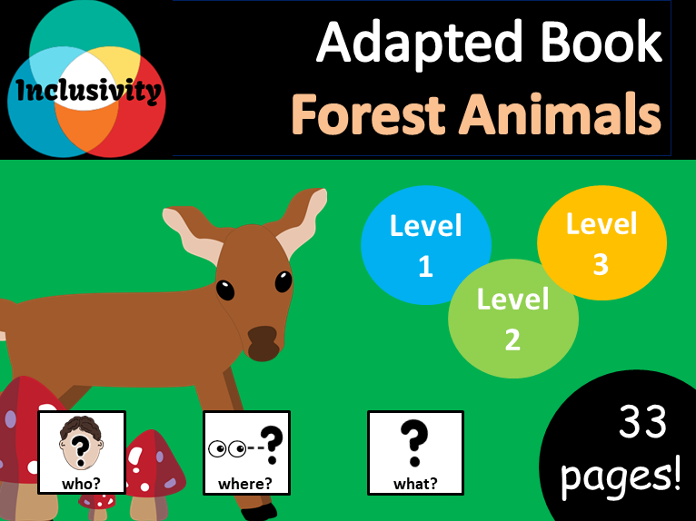 Forest Animals WHO, WHERE, WHAT? Adapted book preposition Level 1, Level 2 and Level 3