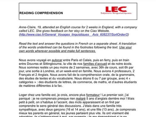 Reading comprehension GCSE sejour linguistique language course