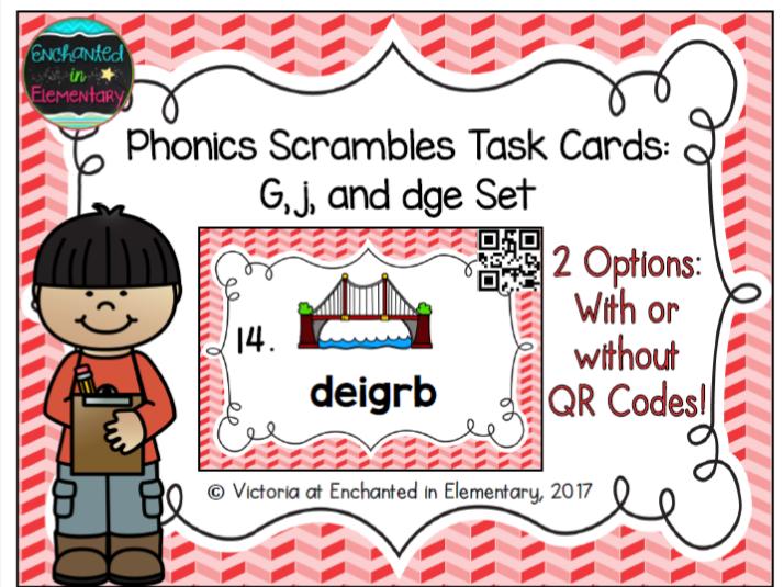 Phonics Scrambles Task Cards: G, J, and Dge Set