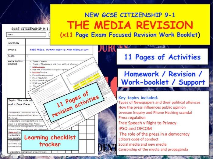 Revision booklet for MEDIA GCSE CITIZENSHIP UNIT 9-1  x11 pages