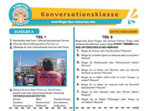 Entscheidungen - German Speaking Activity
