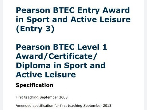 BTEC Sport L1 Certificate - 5 workpacks