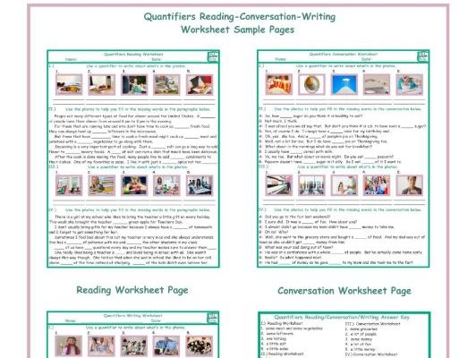 Quantifiers Reading-Conversation-Writing Worksheets