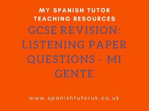 GCSE Past paper Questions Higher - Mi Gente