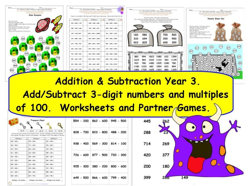 Y3 Add and Subtract Hundreds KS2 Activities and Worksheets