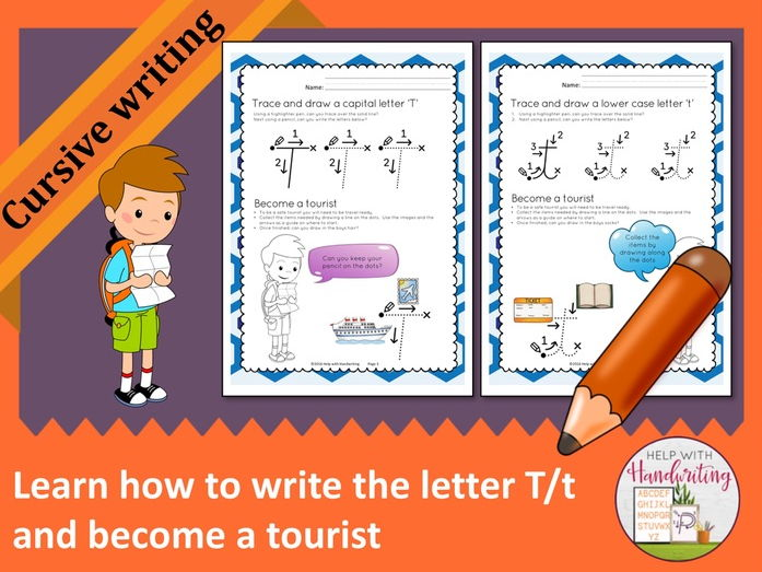 Learn how to write the letter T (Cursive style) and become a tourist