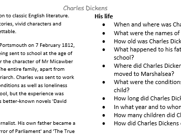 Charles Dickens - Facts and Questions