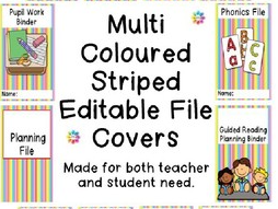 Multi Coloured Striped Editable File Covers
