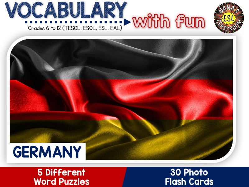 Germany: Word puzzles and Photo flash cards