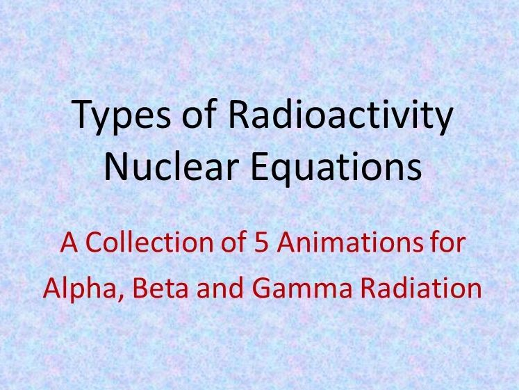 Types of Radiation with Alpha, Beta and Gamma Nuclear Equation Animations