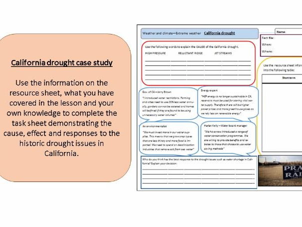 Drought in California  (2 lessons and HW) - Extreme weather high pressure Eduqas and AQA