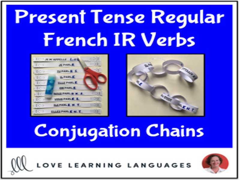 Present tense French IR Verbs - Primary French conjugation chains -Cut and paste