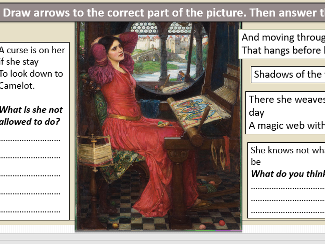 Lady of Shalott – illustrated vocabulary/cloze/labelling