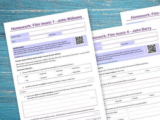 Film music homework pack
