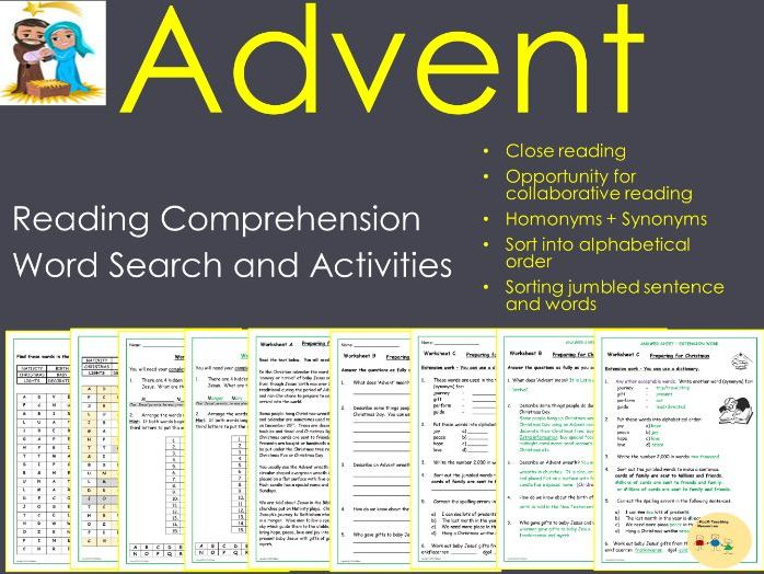 Advent Reading Comprehension Grammar Word Work - Christianity