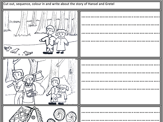 Hansel and Gretel: Cut, sequence, colour and write about the story