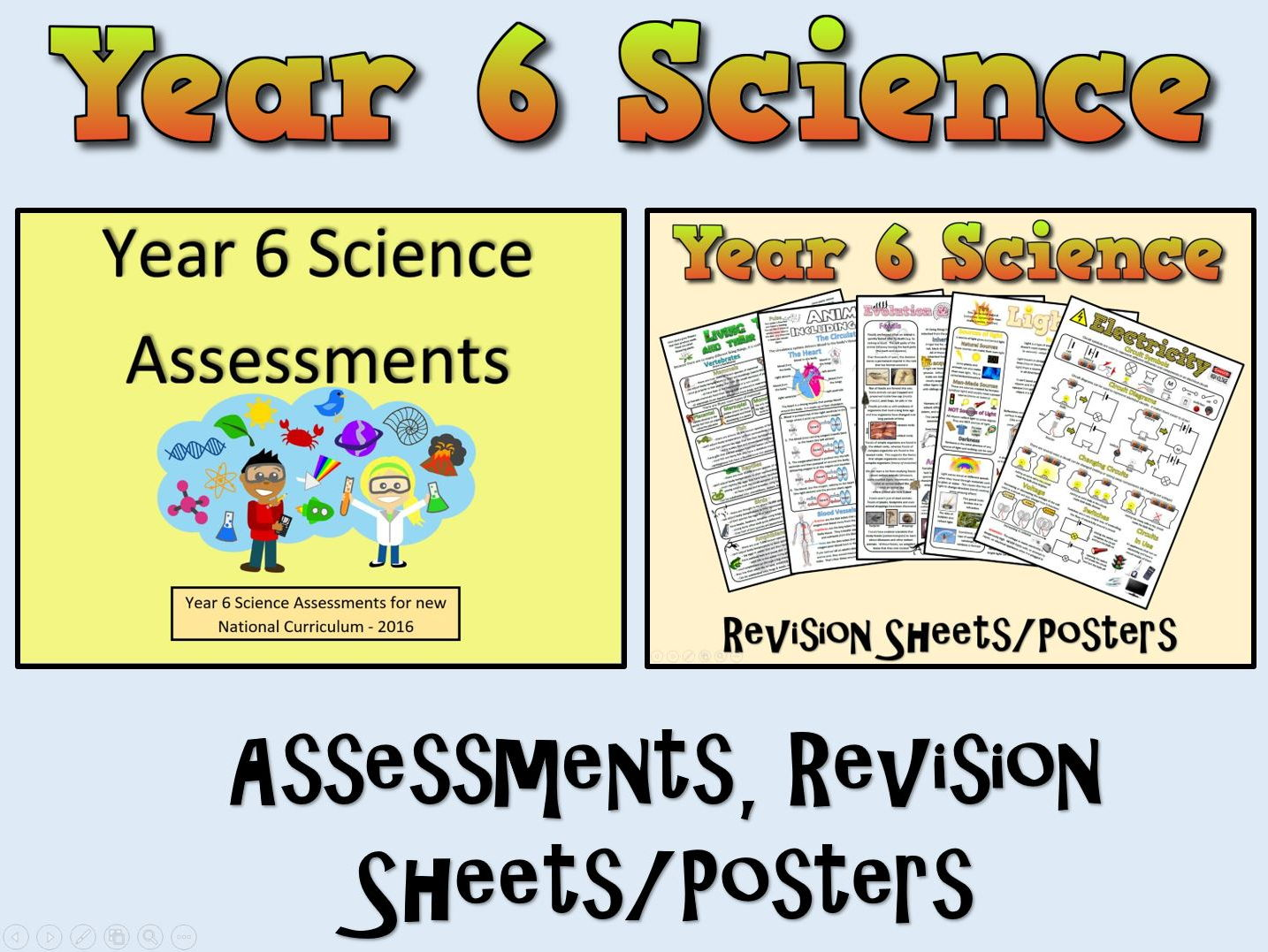 Year 6 Science Assessments + Posters/Revision Sheets
