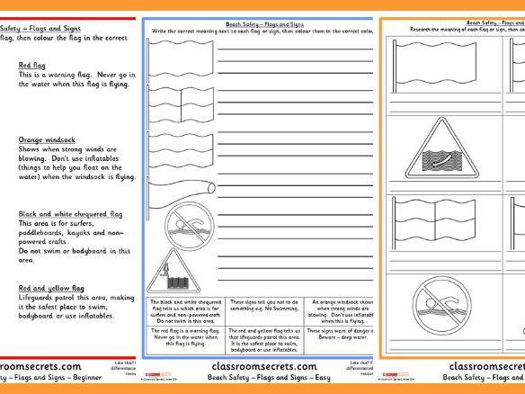 Beach Safety Hazards Worksheets