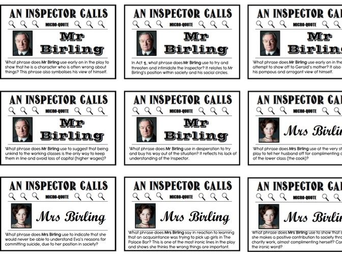 An Inspector Calls Micro Quote Cards