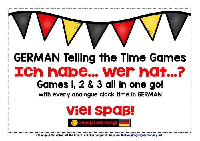 GERMAN TELLING THE TIME - 3 GAMES PACK - I HAVE, WHO HAS?