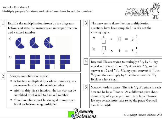 Mastery Maths  - Year 5 Reasoning - Fractions 2
