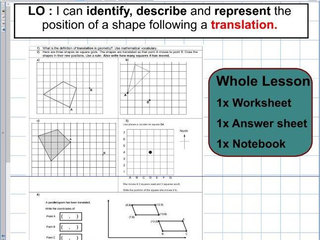 Translation - Geometry - Position of shape -  KS2 - Whole lesson