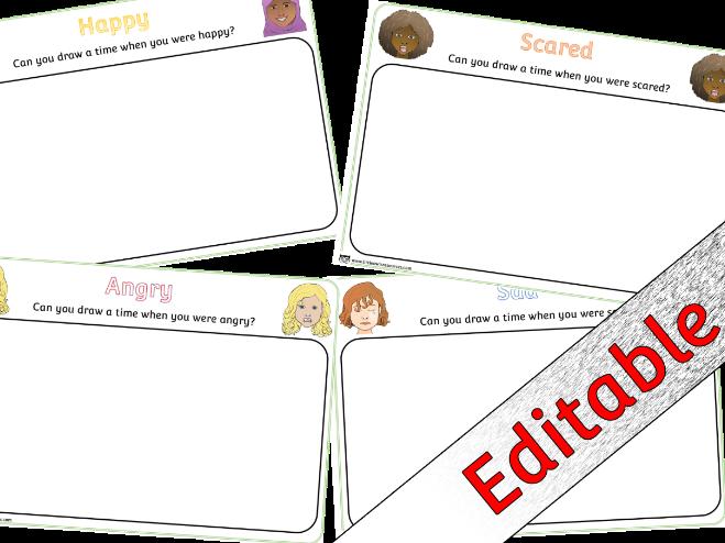 Emotions/Feelings Drawing Sheet Activity - Editable