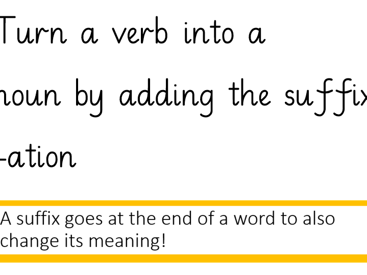 Adding the suffix '-ation- Year 3