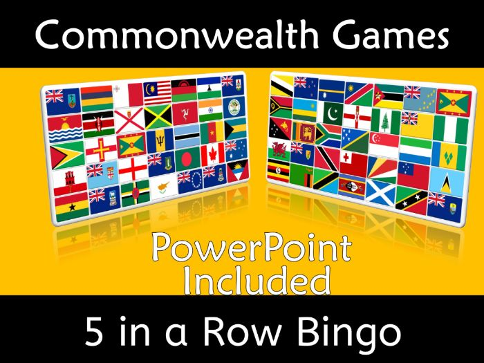 Commonwealth Games 2018 5 in a Row Bingo