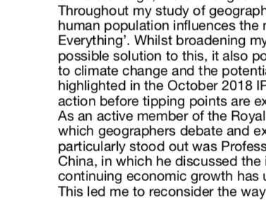Geography Personal Statement (Russell Group University Acceptance)
