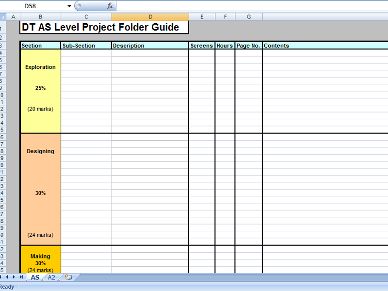 AS and A Level Blank Project Checklist