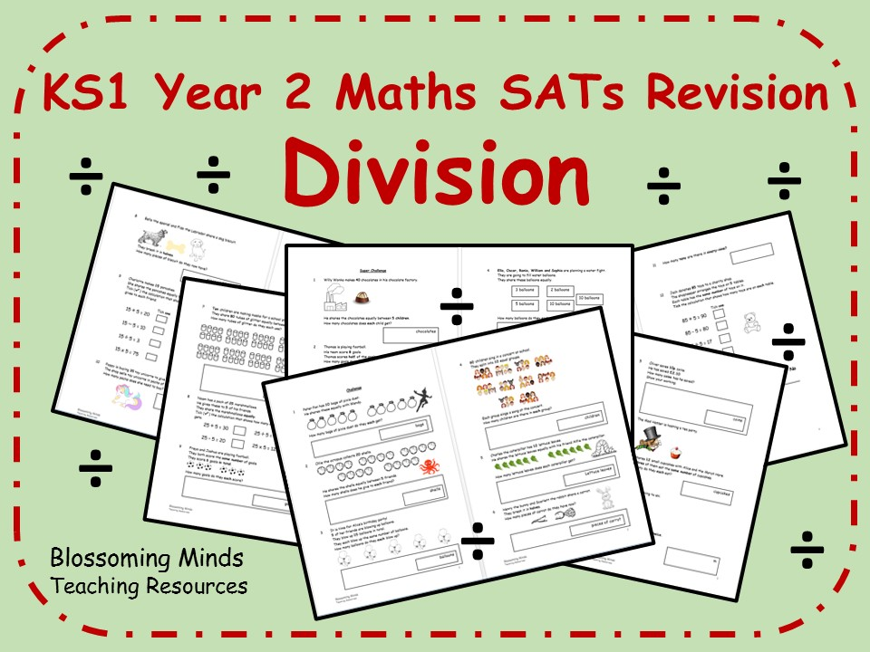 KS1 Year 2 Maths SATs - Division Revision - Differentiated Levels